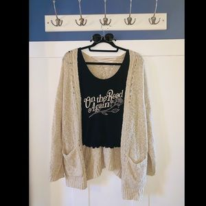 Cream knit cardigan with cross detail